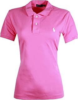 Ralph Lauren Women's Skinny Polo Pony Logo T-Shirt (X-Small, Pink (White Pony))