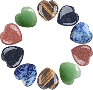 AMOYSTONE 10pcs Chakra Heart Shaped Stones Crystal Therapy Chakra Balancing Reiki Healing Meditation Massage Energy Yoga and Decoration