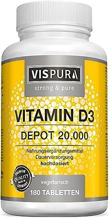 Vispura Vitamina D3 ad alto dosaggio 20000 UI (dose per 20 giorni) 180 compresse vegetali (divisibili) prive di magnesio stearato nella qualità premium tedesca