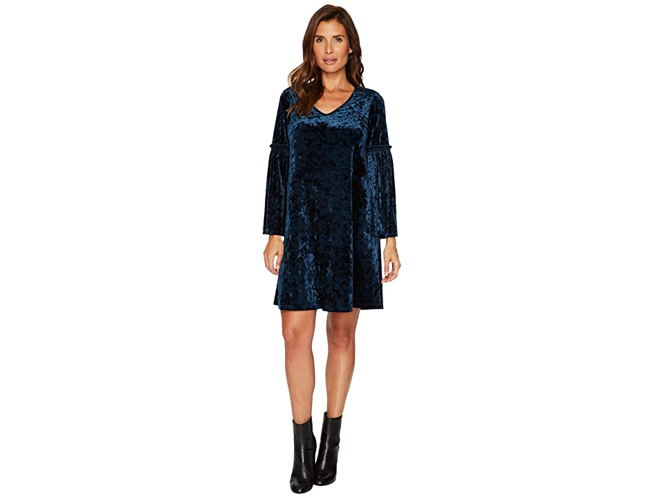 Karen Kane Velvet V-Neck Bell Sleeve Dress (Teal) Women