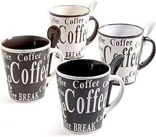 Mr Coffee Bareggio 8 Piece Mug and Spoon Set, Assorted Style and Colors