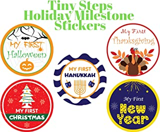 Tiny Steps - Baby Monthly Milestone Stickers for Photo & Keepsake (Set of 20)   Track your Baby's First Year of Achievement & Holiday   Capture Cute Memory with Large 4 Inch Stickers   For Boy or Girl