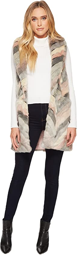 Chevron Patchwork Faux-Fur Vest