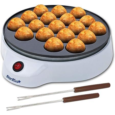 Machine à Takoyaki par StarBlue avec Fourches à Takoyaki GRATUITES - Machine électrique Simple Pour Faire des Boules de Poulpe Japonaises AC 220-240V 50/60Hz 650W, Prise UK, Adaptateur Europe Inclus