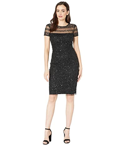 Adrianna Papell Beaded Illusion Cocktail Dress (Black) Women