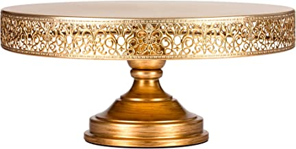 Amalfi Decor 16 Inch Cake Stand, Dessert Cupcake Pastry Candy Display Plate for Wedding Event Birthday Party, Large Round Metal Pedestal Holder, Gold