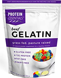 Protein Essentials Beef Gelatin Powder, Unflavored, Pasture-Raised, Grass Fed (16oz)