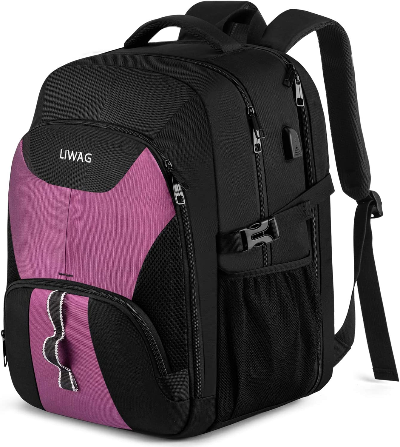 Business Laptop Backpacks for Women Girls,Extra Large Travel Backpack with USB Charging Port,TSA Anti Theft Durable Water Resistant College School Computer Bag Fits 17.3Inch Laptop Notebook,Purple