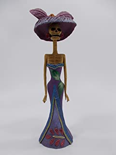 BEAUTIFUL CATRINA ETHNIC, 100% handmade clay sculpture, mexican day of the dead 10
