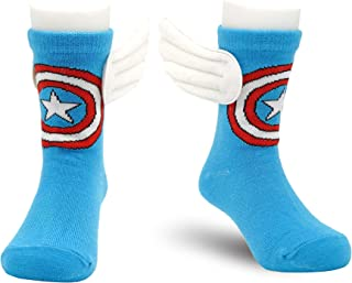 4-6 Years Old Kids Crazy Socks Cartoon Marvel Captain America Children Funny Cool Superhero Desgin Blue Multicolor with 3D Wings Mid-Calf Length Socks Unisex Toddler Boys Girls (1 pair)