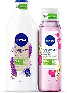 NIVEA Naturally Good Combo, Natural Lavender Body Lotion 350 ml, Lily of the Valley & Oil Shower Gel 300 ml, 2 Pieces