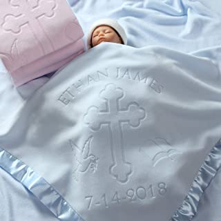 Baptism/Christening Baby Blanket Gift, Personalized Girls Or Boys Gifts with Name and Date, Cross and Bible