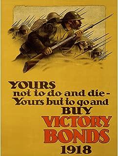 Wee Blue Coo Prints Propaganda WAR WWI Canada Victory Bonds Soldier Rifle Bayonet Poster 30X40 cm 12X16 in