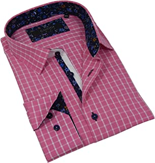 Coogi Luxe Men's Fine Cut Long Sleeve Tailored Fit Button Down Checkered Dress Shirt