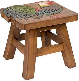 Rooster Design Hand Carved Acacia Hardwood Decorative Short Stool