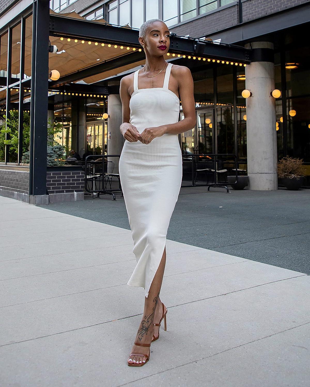 The Drop Women's Whisper White Strappy Rib Midi Dress by @signedblake