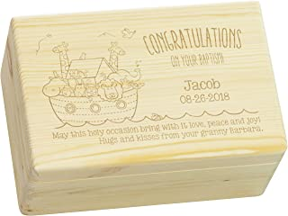 LAUBLUST Engraved Wooden Gift Box - Size L, 12x8x6in - Personalized Baptism Keepsake Box - Noah's Ark | Natural Wood - Made in Germany