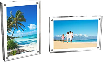 Lavish Home 80-ACRYL-57 Acrylic Picture Clear Freestanding Block Frame with Double Sided Photo/Art Display and Magnetic Cl...
