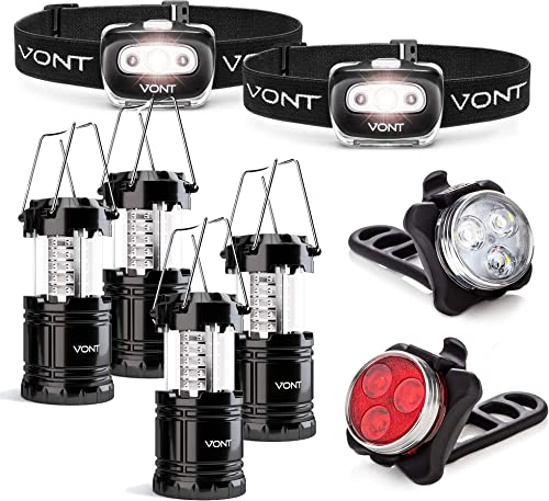 2021 Vont 2-Pack Spark Headlamp + 4-Pack Lantern + Dual Bike Light Bundle - online Complete Lighting Set for the Outdoorsy - Best Light Package for discount Camping, Bike, Hunting, Backpacking, Emergencies, and Outages online