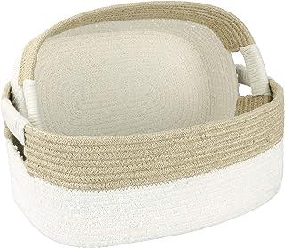 LA JOLIE MUSE Grand ensemble de 2 paniers de rangement en corde de coton, naturels et sûrs pour les bébés et les enfants, ...