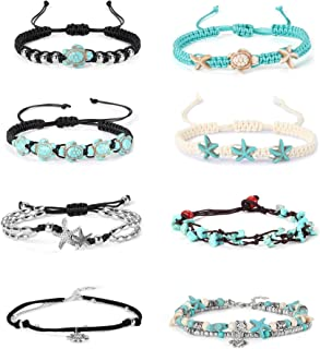 Finrezio 8PCS Anklets for Women Girls Adjustable Boho Turtle Starfish Beac Ankle Bracelets Foot Jewelry Set Handmade