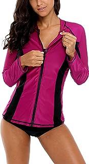 ATTRACO Women's Rashguard Long Sleeve Zip UV Protection Swim Shirt Wine XXL