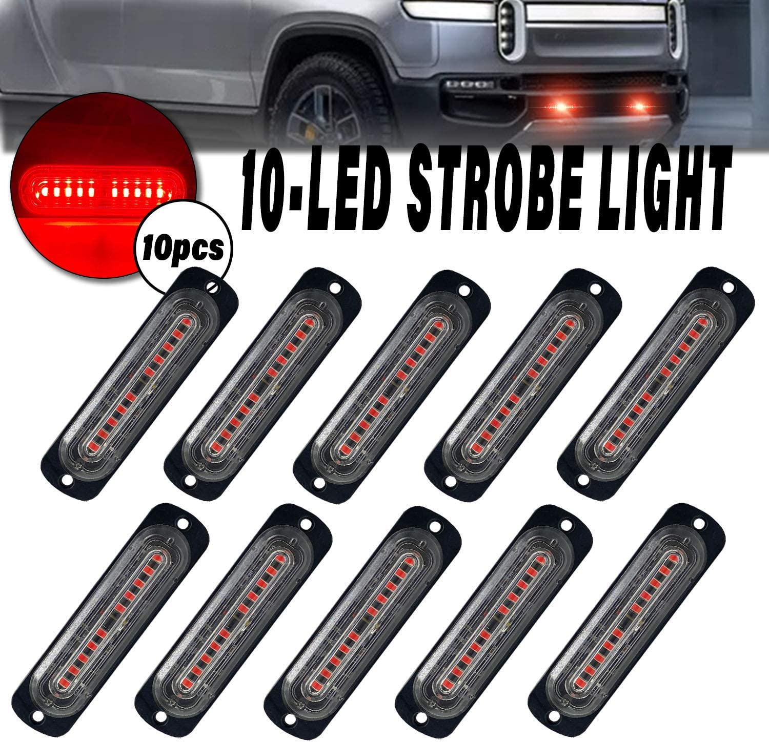 LED Strobe Emergency Lights DIBMS New products Max 83% OFF world's highest quality popular 10x 10 Slim Ultra Red Sur