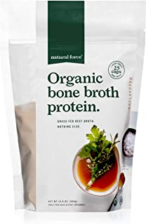 Natural Force Organic Bone Broth Protein Powder – Grass Fed & Keto Certified – Pure and Unflavored, Great for Soups & Cook...