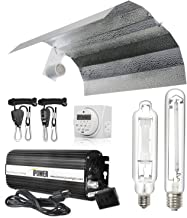 iPower Horticulture 600 Watt HPS MH Digital Dimmable Ballast Grow Light System Kits Wing Reflector Hood Set with Timer