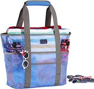 Mesh Beach Bag, Beach Bags and Totes with Handles, Frank Mully Large Toy Tote Bag with Free Waterproof Phone Pouch, Market, Grocery & Picnic Mesh Tote Bag, 9 Pockets Blue