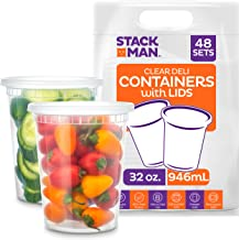 Stack Man [48 Pack, 32 oz] Plastic Deli Food Storage Soup Containers With Airtight Lids, Freezer Safe | Meal Prep | Stacka...