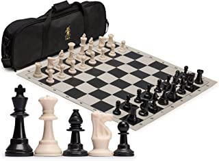 Yellow Mountain Imports Regulation Tournament Roll-Up Staunton Chess Set (19.75-Inch) with Travel Bag, 2 Extra Queens, and...