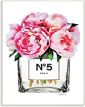 The Stupell Home Décor Collection Glam Paris Vase with Pink Peony Wood Plaque Wall Art, 13 x 19 Inches