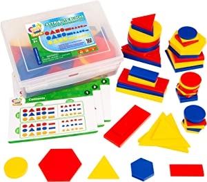 Kids First Math: Attribute Blocks Math Kit with Activity Cards | Develop Skills in Logical Thinking, Classifying, Comparing | Visual Hands-on Math for At-Home or Classroom Learning, Ages 3+