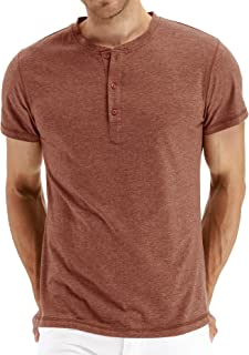 b42d384071260 PEGENO Men s Casual Slim Fit Short Sleeve Henley T-shirts Cotton Shirts