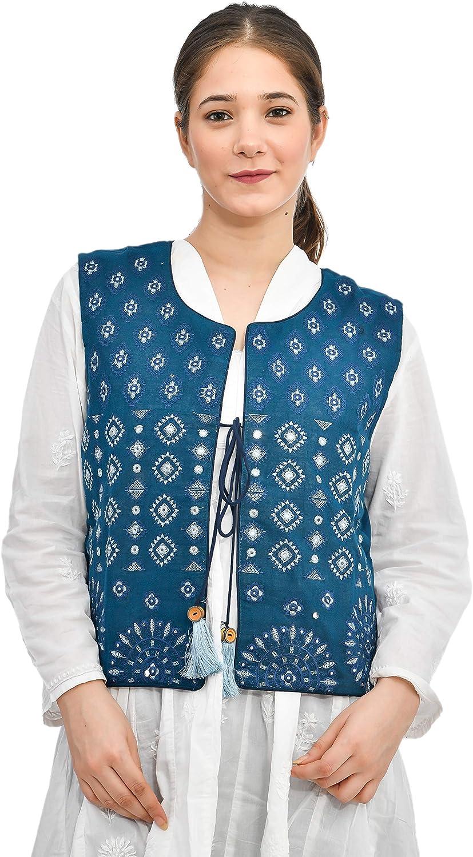 Gypsie Blu Women's Jacket Embroidered Kutchi Jacket for Women Cotton Traditional Choli Koti Girls Indian Wear