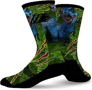 XIdan-die Womens Over-the-Calf Tube Socks Black T Rex Dinosaur and Bones Moisture Wicking Casual Socks