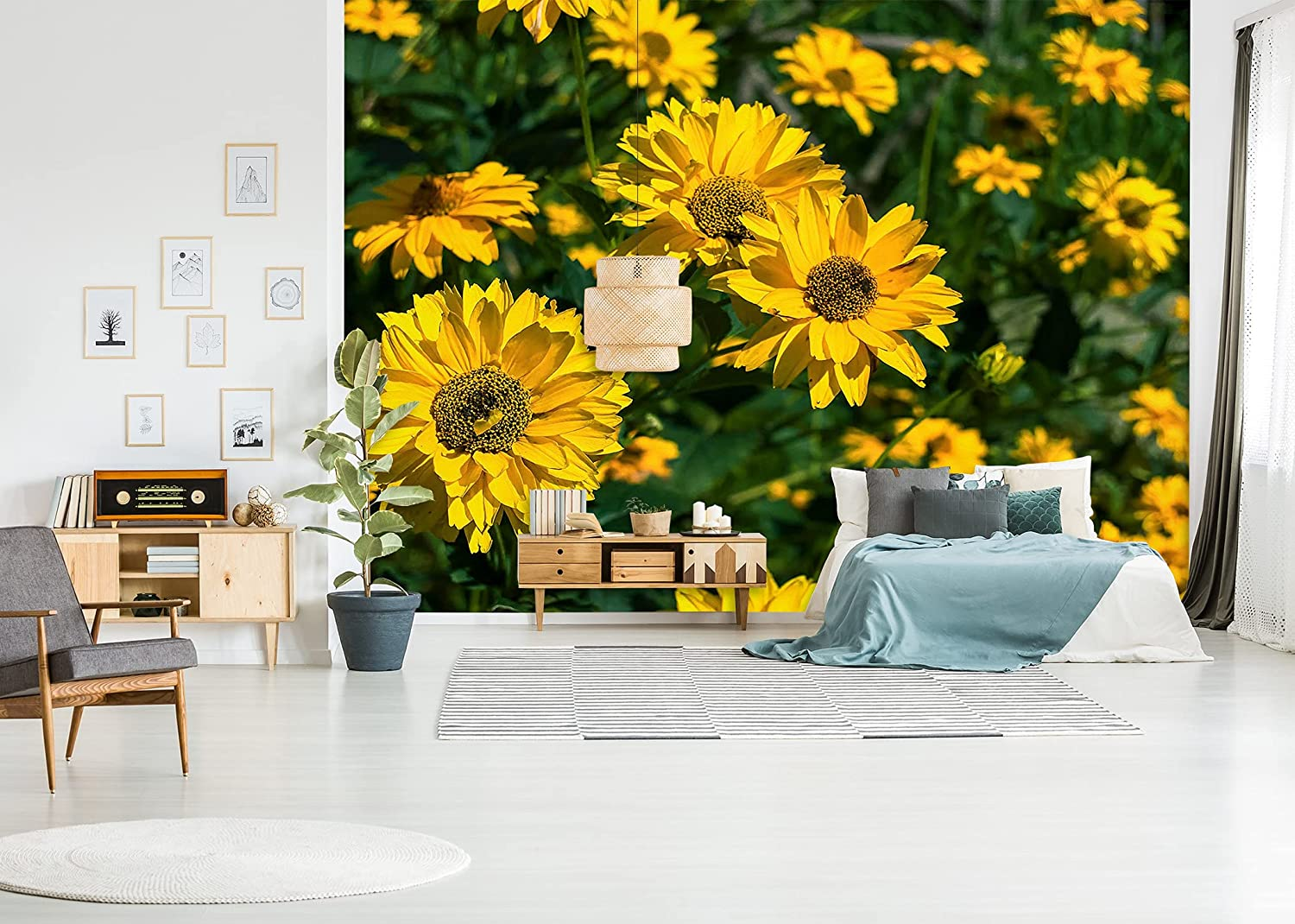 3D Yellow Flower NEW before selling Award Bush 11566 Wall Print Paper Mur Deco Decal