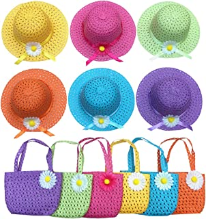 Jund Girls Tea Party Hats Purse Kids Child Babe Little Playtime Birthdays Easter Party Supplies Accessories, Includes 6 Purses 6 Daisy Flower Sunhats(Blue, Rose, Red, Yellow, Purple, Pink)