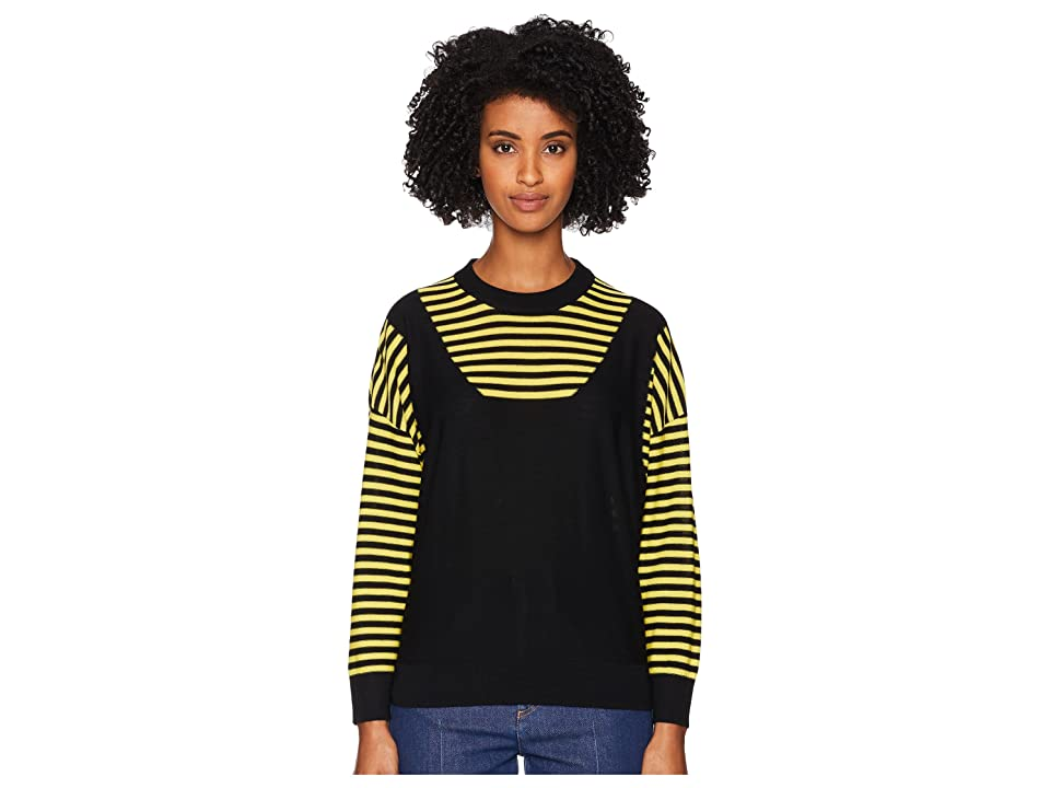 Sonia Rykiel Finewool Stripes Long Sleeve Sweater (Black/White) Women