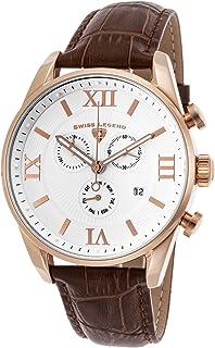 Swiss Legend Men's Bellezza Stainless Steel Swiss-Quartz Watch with Leather Calfskin Strap, Brown, 21 (Model: 22011-RG-02-...