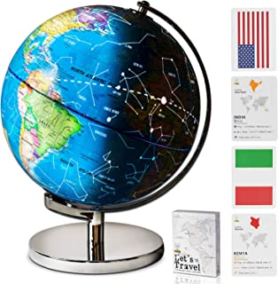 Children Illuminated Spinning World Globe with Stand Plus a Bonus Card Game. 3 in 1..