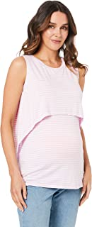 Ripe Maternity Women's Stripe Swing Back Nursing Tank, Lilac/White