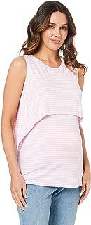 Ripe Maternity Women's Stripe Swing Back Nursing Tank, Lilac/White