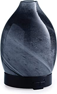 Airomé Obsidian Hand-Blown Glass Essential Oil Diffuser 100 mL Humidifying Ultrasonic Aromatherapy Diffuser with 8 Colorful LED Lights, Intermittent or Continual Mist Auto Shut-Off, Black And White