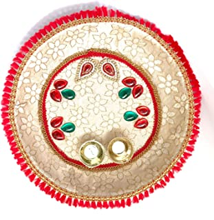 SHRIYA Pooja Thali with Haldi Kumkum Holder Decorative Stainlees Steel Plate Celebrate Your Festival with This Colorful Po...
