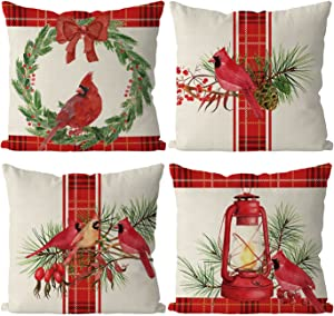 Christmas Pillow Covers 18 x 18 Inch Set of 4 Christmas Cardinal Red Buffalo Check Farmhouse Throw Pillowcase Party Decorations Winter Home Decor Case for Sofa Couch