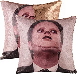 cygnus Funny Mermaid Sequin Pillow Cover The Office Dwight Schrute Magic Reversible Sequins Throw Pillow Cover Decorative Change Color Pillowcase(Champagne,Type 2)