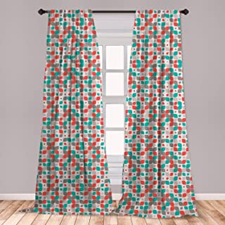 Ambesonne Retro 2 Panel Curtain Set, Old Fashioned Style Abstract Mosaic Grid Inspired Floral Pattern Classical, Lightweight Window Treatment Living Room Bedroom Decor, 56