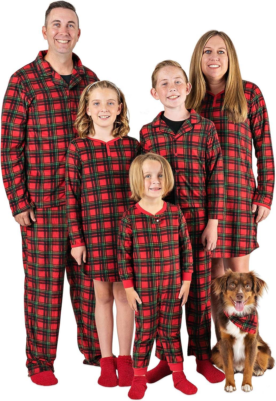 Mad Dog Concepts Matching Set Family Christmas Holiday Pajamas + Slipper Socks - Red Plaid